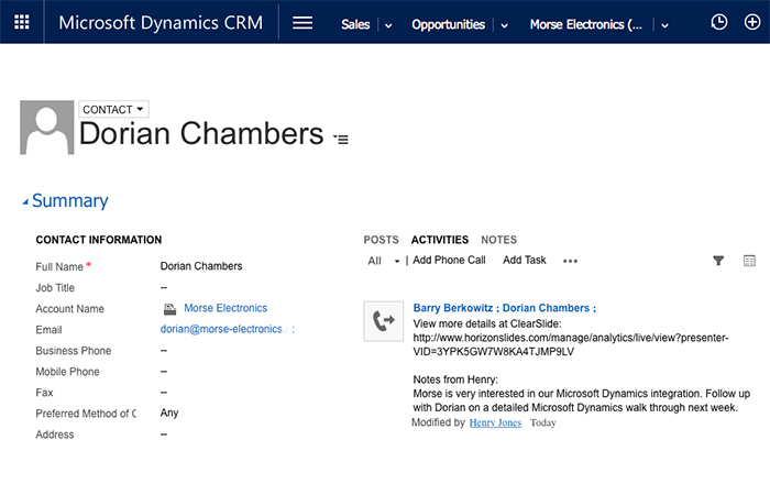 MS Dynamics Sales Contact